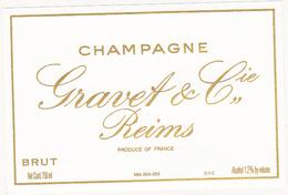 Etiquette Champagne BRUT - Gravet & Cie à Reims - Champagne