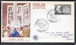 FDC 1956 - 1056 Inventeurs & Chercheurs Célèbres:  Charles TELLIER & Son Navire - 1950-1959