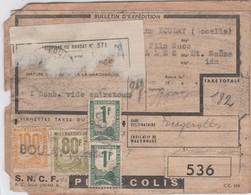 "Bulletin Envoi Colis Postal ""Petit Colis"" N° 536 / Timbres SNCF 100 F 80 F 1 F (x2) / De Boulay 57 - Colis Postaux"