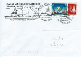 13037  Batral JACQUES CARTIER - Adieux à La NOUVELLE CALÉDONIE - NOUMÉA - BREST - 2013 - Covers & Documents