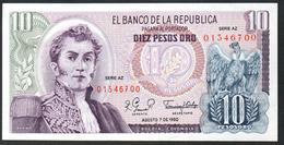 Colombia 10 Pesos 1980 AUNC/UNC - Colombia