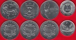 Andorra Set Of 4 Coins: 1 Centim 1999-2002 UNC - Andorra