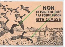 AGON COUTAINVILLE NON AU PROJET DE GOLF A LA POINTE D'AGON  (carte Pétition) Rare - France