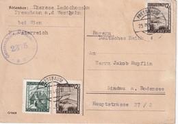 AUTRICHE 1946 CARTE CENSUREE DE PRESSBAUM POUR LINDAU - 1945-.... 2nd Republic