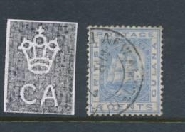 BRITISH GUIANA, 1876 4c Blue Wmk Crown  CC Fine Used, Cat £9 - British Guiana (...-1966)