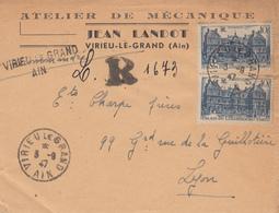 AIN ENV 1947 VIRIEU LE GRAND LETTRE RECOMMANDEE PROVISOIRE - Poststempel (Briefe)