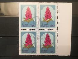 FRANCOBOLLI STAMPS PORTOGALLO PORTUGAL MADEIRA 1981 USED  SERIE  FIORI FLOWERS QUARTINA - Madeira