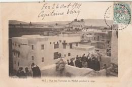 Maroc Yvert 11 Cachet Perlé 1/11/1911 Sur Carte Postale FEZ Signée Capitaine Vary Adressée Colonel Blanc Mostaganem - Briefe U. Dokumente