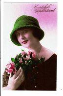 CPA - Carte Postale Pays Bas - Hartelijk Gefeliciteerd Jeune Dame Tenant Un Bouquet -1926-VM4006 - Wensen En Feesten