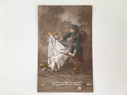 AK Patriotique Drapeau Soldat Francais Et Allemand Gloire Et Honneur Premit D'horreur - Oorlog 1914-18