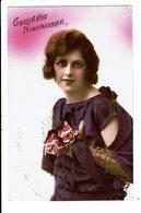 CPA - Carte Postale Pays Bas - Gelukkig NieuwJaar Avec Une Jeune Dame-VM4009 - Nieuwjaar