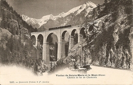 74. CPA. Haute Savoie. Chamonix-Mont-Blanc. Viaduc De Sainte-Marie Et Le Mont-Blanc. Chemin De Fer De Chamonix - Chamonix-Mont-Blanc