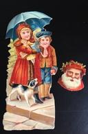 Beau Chromo Decoupis Enfant Couple Parapluie Père Noël - Animals
