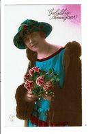 CPA - Carte Postale Pays Bas - Gelukkig Nieuwjaar Une Jeune Femme Chapeautée Tenant Des Roses-VM4011 - Nieuwjaar