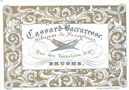 503/29 -- BRUGES CARTE PORCELAINE - Carte Illustrée Fabricant De Parapluies Cassard - Litho Années 1840/50 - Visiting Cards