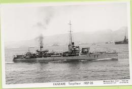 FANFARE Torpilleur  1907-25  / Photo Marius Bar, Toulon / Marine - Bateaux - Guerre - Militaire - Guerre