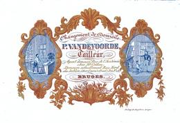 504/29 -- BRUGES CARTE PORCELAINE - Carte Illustrée Tailleur Vandevoorde - Litho Années 1840/50 - Tarjetas De Visita