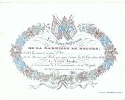 505/29 -- BRUGES CARTE PORCELAINE - Carte Illustrée Bal Des Sous-Off. Garnison De Bruges  - Litho Année1842 - Visiting Cards