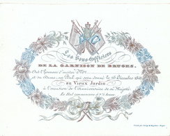505/29 -- BRUGES CARTE PORCELAINE - Carte Illustrée Bal Des Sous-Off. Garnison De Bruges  - Litho Année1842 - Tarjetas De Visita