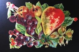 Beau Chromo Decoupis Fruits Poire Raisin Noisette - Gesneden Chromo's