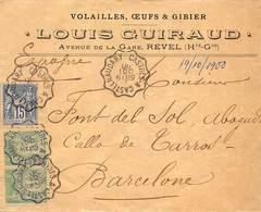 LETTRE DE REVEL A ESPAGNE YV Nº 64 X2+ 90. OBLITERATION FERROVIAIRE - 1876-1878 Sage (Type I)