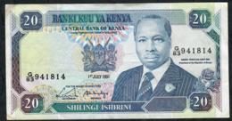 KENYA P25d 20 SHILLINGS 1991 VF NO P.h. - Kenia