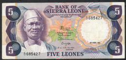 SIERRA LEONE P7e 5 LEONES 19.4.1984  VF NO P.h. - Sierra Leone