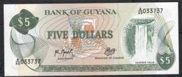 GUYANA P22h 5 DOLLARS 1965 Signature 9 #A/40 UNC. - Guyana