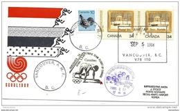 118 - 20 - Enveloppe  Vol De L'équipe Olympique Canadienne Vancouver-Seoul 1988 - Summer 1988: Seoul