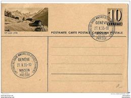 """22-59 - Entier Postal Avec Illustration St Luc Valais - Oblit Spéciale De Genève """"Maison De La Presse 1955"""" - Ganzsachen"""