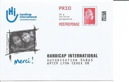 """PRET A POSTER REPONSE """" Handicap International """" Repiquage Marianne L'Engagée Prio - Entiers Postaux"""