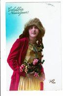 CPA - Carte Postale Pays Bas -Gelukkig Nieuwjaar- Jeune Femme Avec Un Chapeau De Fourrure-VM4021 - Wensen En Feesten