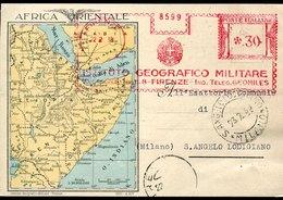 45805 Italia, Red Meter Freistempel Ema Firenze  1938 Istituto Geografico Militare,military Geographical Institute,circu - Affrancature Meccaniche Rosse (EMA)
