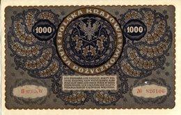 Polen, 1000 Marek 1919, P 29 - KM 29, Kleines Loch Sonst KFR, UNC - Polen