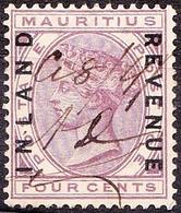 MAURITIUS 1889 QV 4 Cents Lilac SGR2 Fiscal Used - Mauritius (...-1967)