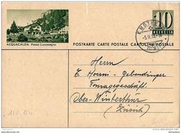 """45 - 82 - Entier Postal  Avec Illustration """"Acquacalda"""" Cachet à Date D'Erstfeld 1953 - Attention Petite Déchirure - Entiers Postaux"""
