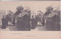 75 - PARIS - MANEGE - CIRQUE MONTAGNES RUSSES  - CARTE STEREO - VUE STEREOSCOPIQUE AVEC PUB CHOCOLAT LOUIT AU VERSO - - Stereoscope Cards