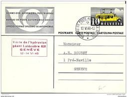 """41 - 20 - Entier Postal Avec Oblit Spéciale """"Visite De L'hydravion Géant Latécoère Genève 1948"""" - Poststempel"""