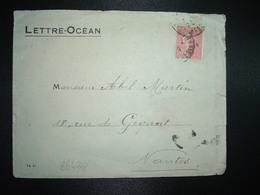 LETTRE OCEAN TP SEMEUSE 50c OBL. NANTES (44) + COMPAGNIE RADIO MARITIME à ABEL MARTIN à NANTES - Postmark Collection (Covers)