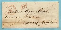 Brief Met Inhoud,afst. BINCHE 09/03/1849 (Herlant 37) + Omkaderde P.P. Naar ANVERS / 1 / 10-03/1849 (vacatie 1°) - 1830-1849 (Belgio Indipendente)