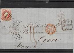 1868.- LETTER FROM LISBOA TO LYON (FRANCIA). SEVERAL TRANSIT POSTMARKS: ELVAS, BADAJOZ,PARIS, LYON - 1862-1884 : D.Luiz I