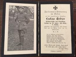 Sterbebild Wk1 Bidprentje Wo1 Avis Décès Deathcard IR16 23. März 1918 LAFRIMBOLLE Aus Ergolding - 1914-18