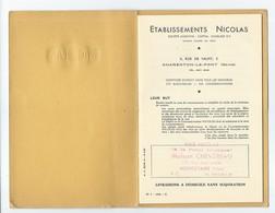 """NICOLAS - Petit Livret De Tarifs """"Etablissements Nicolas"""" - 1960 - Pubblicitari"""