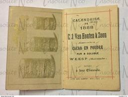 Rare Et Exceptionnel Calendrier Publicitaire 1888 Cacao C.J. Van Houten & Zoon état Quasi Neuf - Calendarios