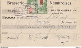 Reçu De La S.A. Brasserie Et Malterie Namuroises Rue Des Brasseurs 43-45 Namur Datée Du 26 Juillet 1930 - Artesanos