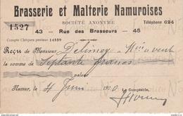 Reçu De La S.A. Brasserie Et Malterie Namuroises Rue Des Brasseurs 43-45 Namur Datée Du 4 Juin 1920 - Old Professions