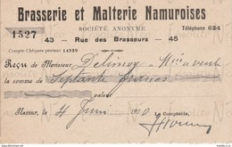 Reçu De La S.A. Brasserie Et Malterie Namuroises Rue Des Brasseurs 43-45 Namur Datée Du 4 Juin 1920 - Artesanos