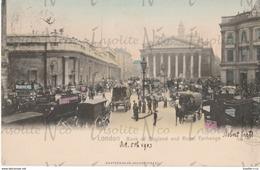 CPA 5 Octobre 1903 Londres Bank Of England Cachet Too Late Timbre One Penny Dos Non Divisé - Taxi & Carrozzelle