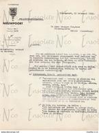 Courrier  En Flamand Du Bourgmestre De Nieuport Adressé à Georges Slégers 21 Février 1952 Placement Carillon - Ambachten