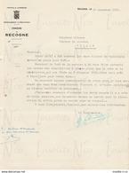 Courrier Officiel Adressé Par Le Bourgmestre De Recogne Adressé à M. Slégers Tellin Concernant Placement Cloche - Petits Métiers